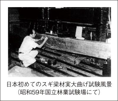 日本初のスギ梁材実大曲げ試験風景